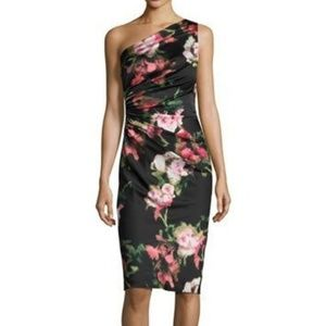 David Meister one-shoulder floral cocktail dress